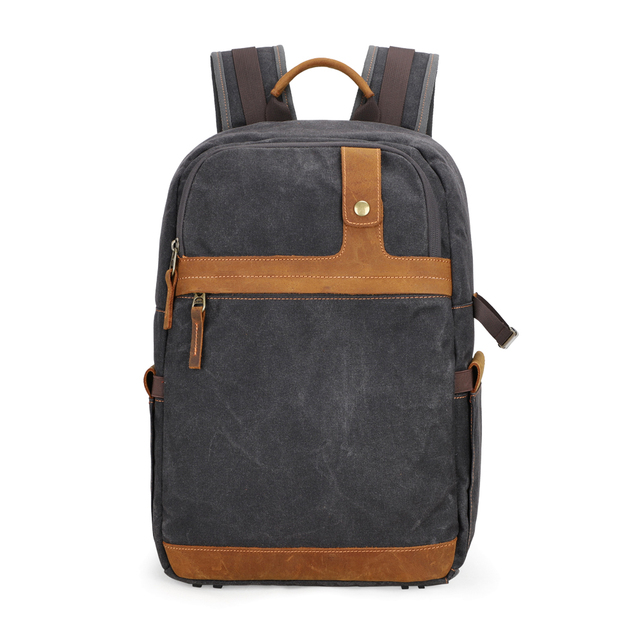 Waterproof Batik Canvas+Leather Shoulders Protect Bag Professional Photographic Camera Backpack for SLR Camera Lens Tripod Flash