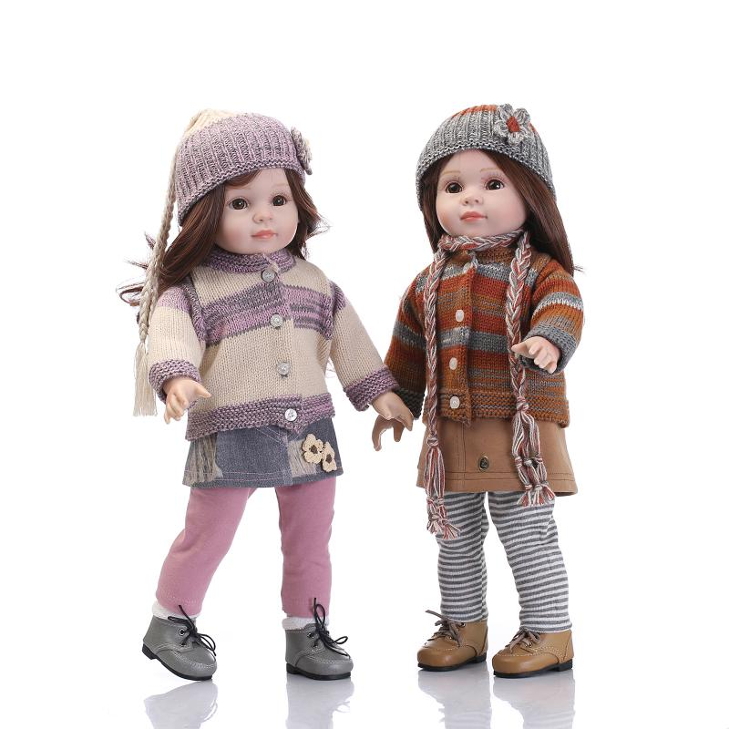 New Arrival 18 inch American Girl Doll Twins 18 Girl Doll Toys with Long Curly Hair for Dress Up Toys Girls Xmas Birthday Gifts christmas costume dress for 18 45cm american girl doll santa dress with hat for alexander doll dress