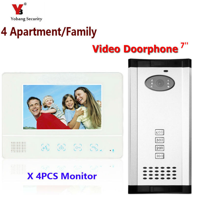Yobang Security Freeship Apartment Intercom 7 Video Door Phone Video Door Entry System Video Intercom Doorbell Home Security yobang security 9 inch lcd home security video record door phone intercom system doorbell video monitor for apartment villa