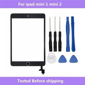 Для ipad mini A1432 A1454 A1455 A1489 A1490 A1491 Сенсорное стекло экран дигитайзер кнопка домой с IC Conector для ipad mini 1 2