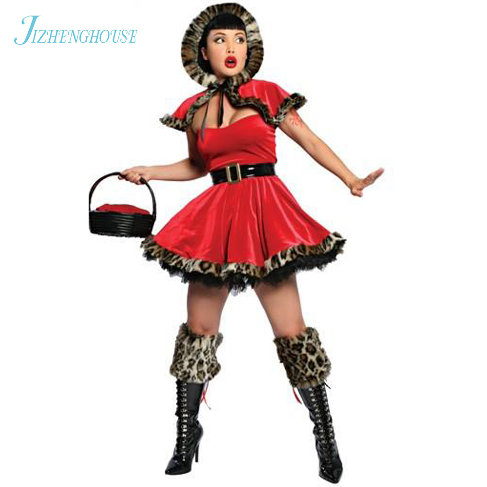 JIZHENGHOUSE Women Christmas Costume Sexy Cosplay Santa Dress With Hat Fancy Lady Costumes