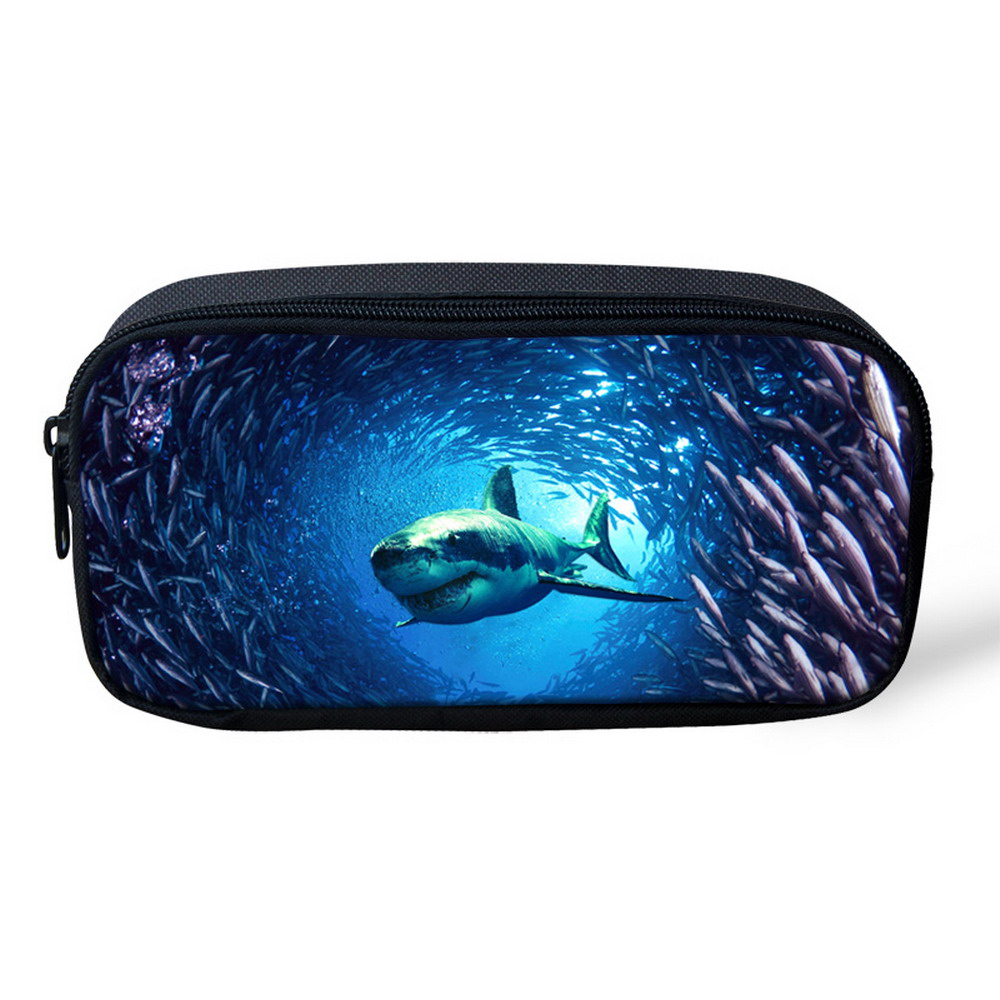 Fashion Makeup Bag for Women Multifunction Animal Pencil Case Large Size Shark Dolphin School Kids Pencil Box Animals Stationery