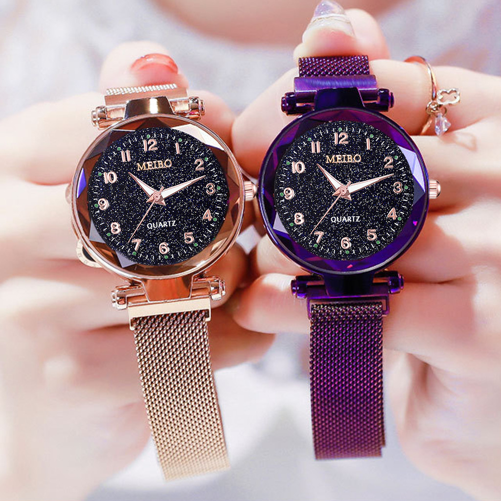 women watches Starry Sky Flat Glass Quartz Mesh With Magnetic Buckle Ladies Watch digital watch relogio feminino montre homme