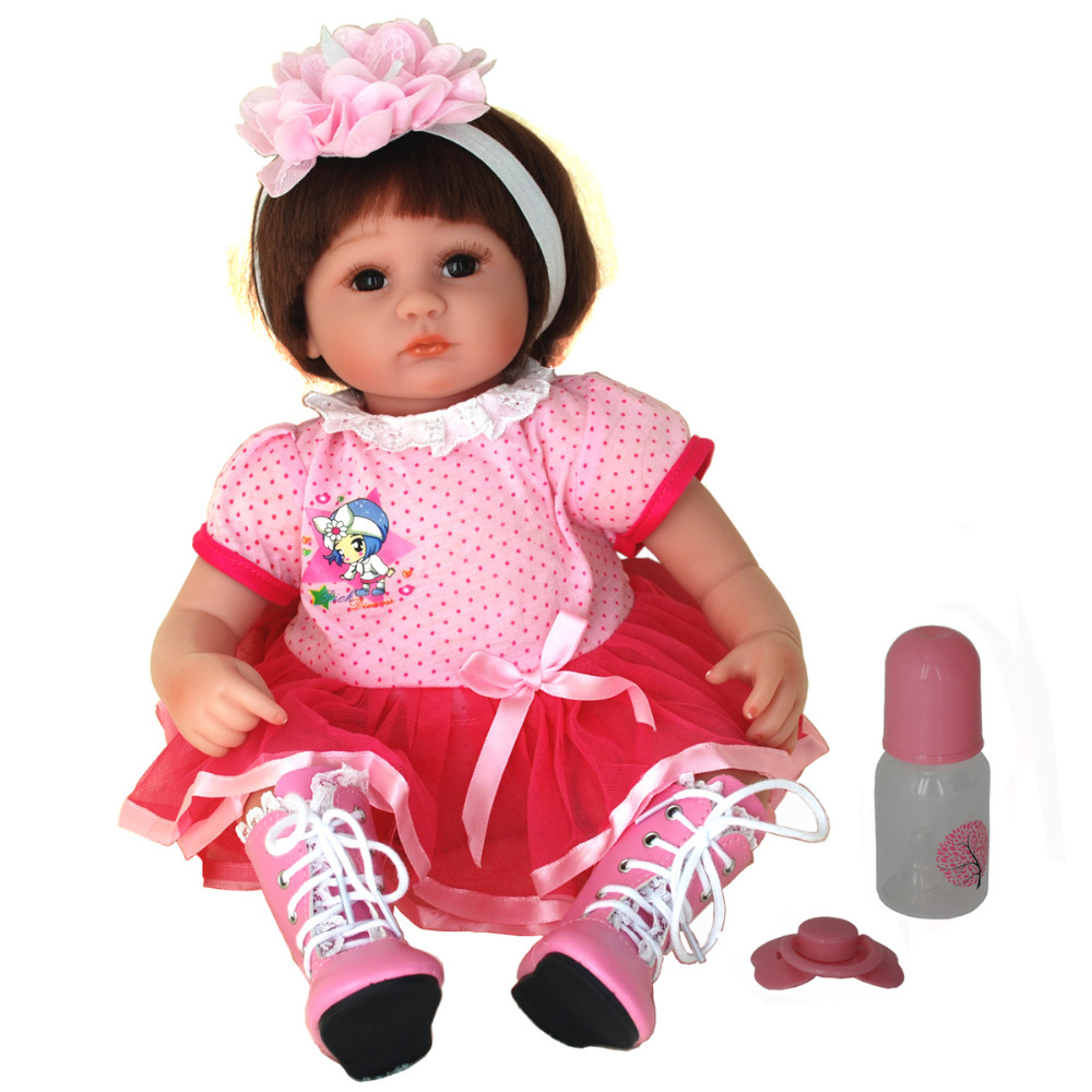 NicoSeeWonder 16 Inch Bonecas Bebe Reborn Baby Dolls Lifelike Cotton Body Reborn Toddler Toys Girl Doll With Red Pink Dress Gift short curl hair lifelike reborn toddler dolls with 20inch baby doll clothes hot welcome lifelike baby dolls for children as gift