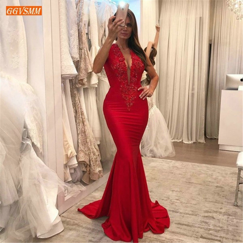 Sexy Red Slim Fit Deep V Neck Evening Dress 2019 Elastic Satin Appliques Long Formal Dresses