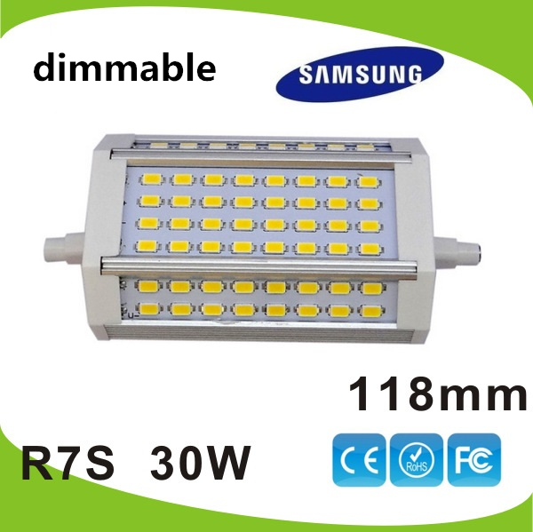 10 pcs/lot dimmable 118mm led R7S lumière 30 W 118mm J118 R7S lampe AC110V-240 V DHL livraison gratuite