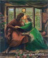 Portrait Paintings impressionist Paolo and Francesca da Rimini Dante Gabriel Rossetti High quality Handpainted