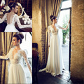Elegant Hadas Cohen Deep V Lace Top Long Sleeves Vestidos De Novia Flowing Chiffon Beach Wedding Dress 2016 Open Back EV0090
