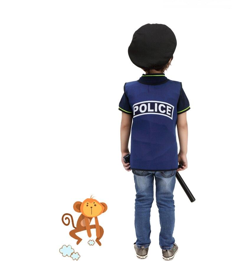 Купить с кэшбэком Halloween Costumes for Boys Cosplay Costume police vest boys police uniform Children Kids Performance Clothing