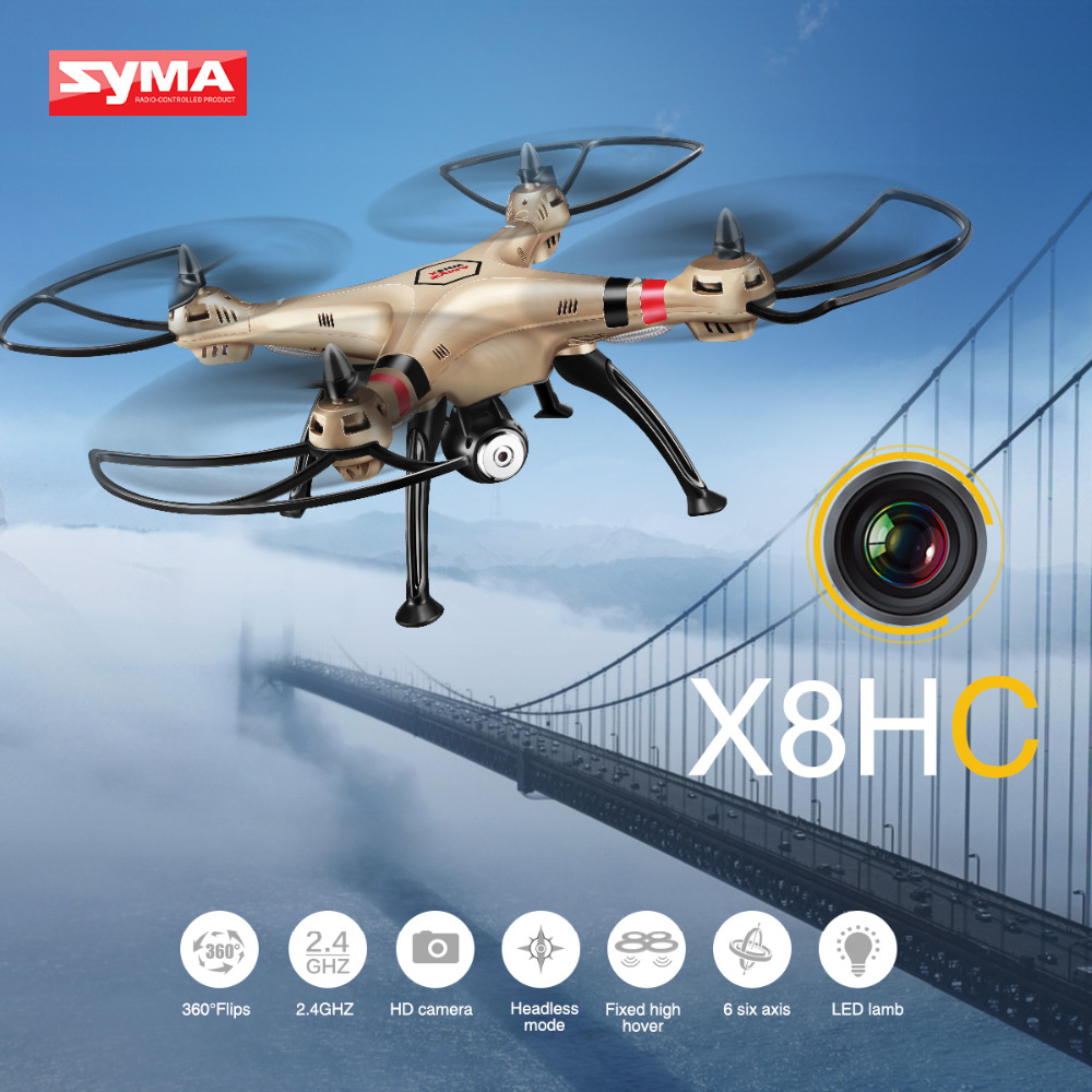 SYMA X8HC RC Drone With 2MP Camera HD 6-AXIS Gyroscope Quadcopter RC Helicopter Professional Drones Headless Mode Toys For Boys free shipping f181 professional rc quadcopter drones with 2mp camera hd 2 4g 6axis rc helicopter drone toys vs x8w h9d