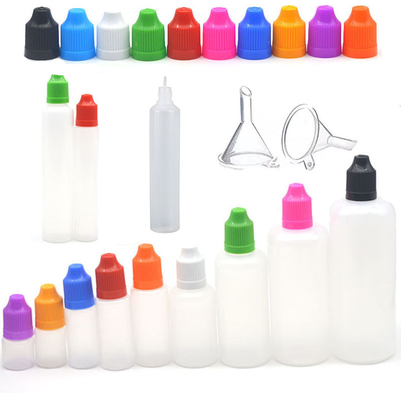 5pcs 3/5/10/15/20/30/50/100/120 Ml Empty LDPE Plastic E Liquid Juice Dropper Eye  Squeezable Bottles Long Tip Cap Vape Container