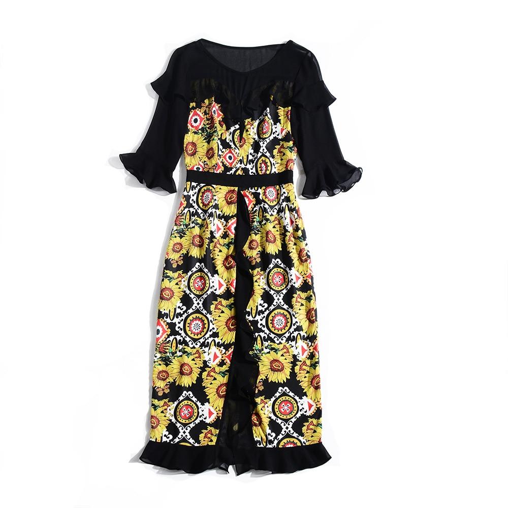Imprimer Pu Femme Ciel D'été De Volants Patchwork Doux Pour Floral Printemps New Robe High 2019 Mi Fête mollet Cou Vêtement O Street fq1fZwCrR