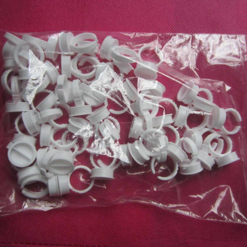 ทิ้งแหวน tattoo pigments สักชิ้นส่วน 100pcs สีขาวชุดแหวนสำหรับ tattoo pigment ผู้ถือ
