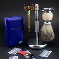 Classic Weishi Butterfly Safety Razor Stainless Steel Stand Shaving Brush one Set