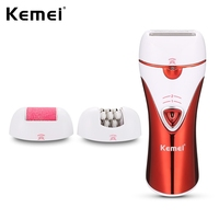 Kemei 3 In 1 Rechargeable Women Electric Lady Epilator Shaver Callus Remover Shaving Hair Removal Depilation KM 1107