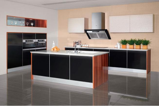 High gloss black & wood grain kitchen cabinet furniture-in ...