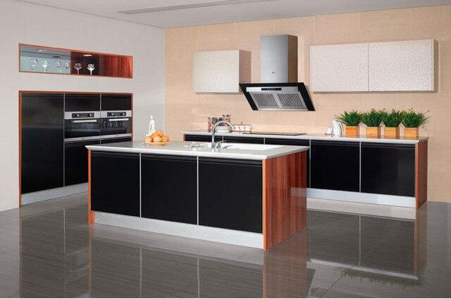 Hoogglans zwart & houtnerf keukenkast meubels in hoogglans zwart
