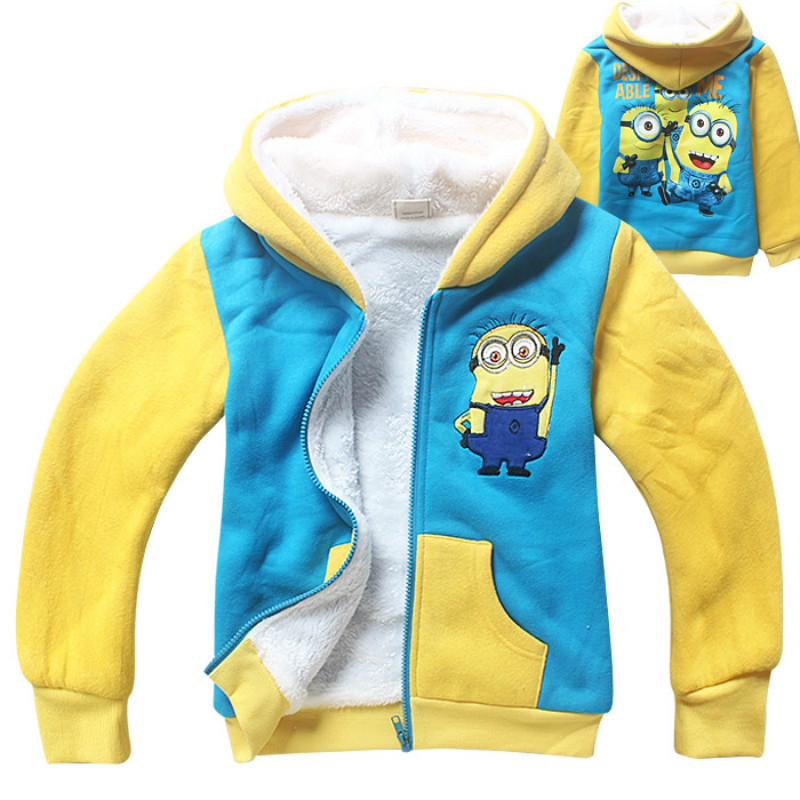 2016 minions Girl boy outwear north facce kids winter coats hooded jacket hodie boys girls clothes fur Size For 5 6 7 8 9 years