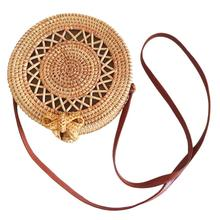 Handmade Rattan Weaving Round Cutout Bag Beach Natural Fashion Vintage Hollow Out Messenger Bags For Women