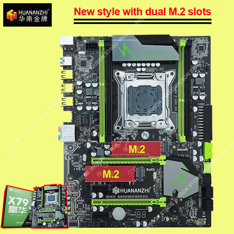 Famous Brand motherboard with M 2 slot HUANANZHI discount X79 motherboard SATA3 0 port PCI E