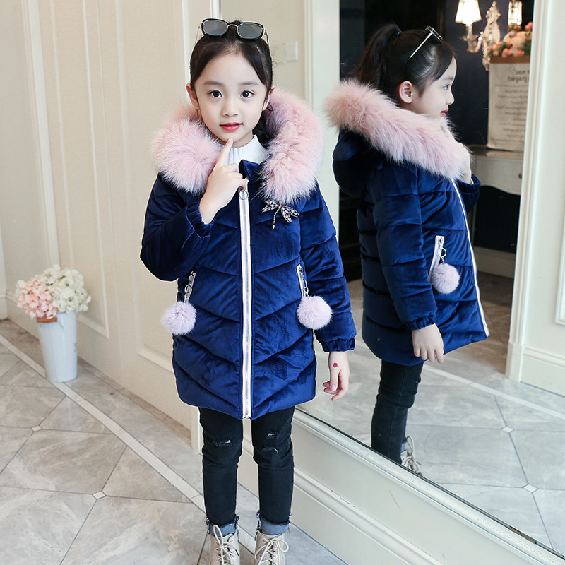 Girls 4-12 Years Winter Hooded Fluffy Collar Down Puffer Thick Warm Solid Color Casual Fashion Lovely Outerwear Coat JacketGirls 4-12 Years Winter Hooded Fluffy Collar Down Puffer Thick Warm Solid Color Casual Fashion Lovely Outerwear Coat Jacket