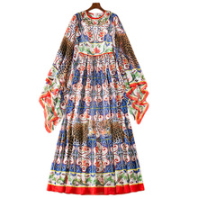 13 S~5XL Extra Size 2018 Fashion Designer Runway Summer Ladies Round Collar Horn Sleeves Flower + Leopard Print Floor Long Dress fashion round collar long sleeves floral print women s mini dress