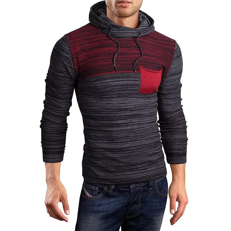 ZOGAA Men New Hooded Sweater Autumn Winter Men's Patchwork Color Even Hat Leisure Long-sleeve Sweater Tops Men Slim Sweater Coat