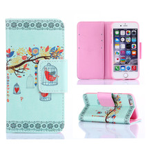 For Apple iPhone 6 Case Natural Style Luxury Painting PU Leather Case Card Slot Stand Wallet Magnetic Flip Phone Cover