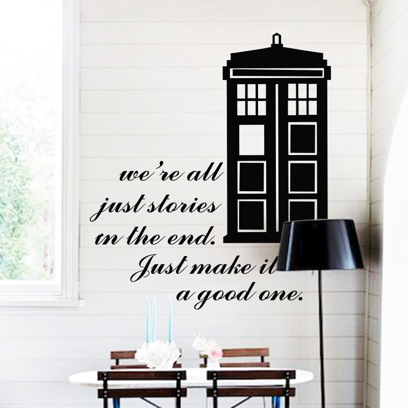 Art design home decoration Dr who cheap vinyl popular Doctor who wall sticker home decor famous police box decal
