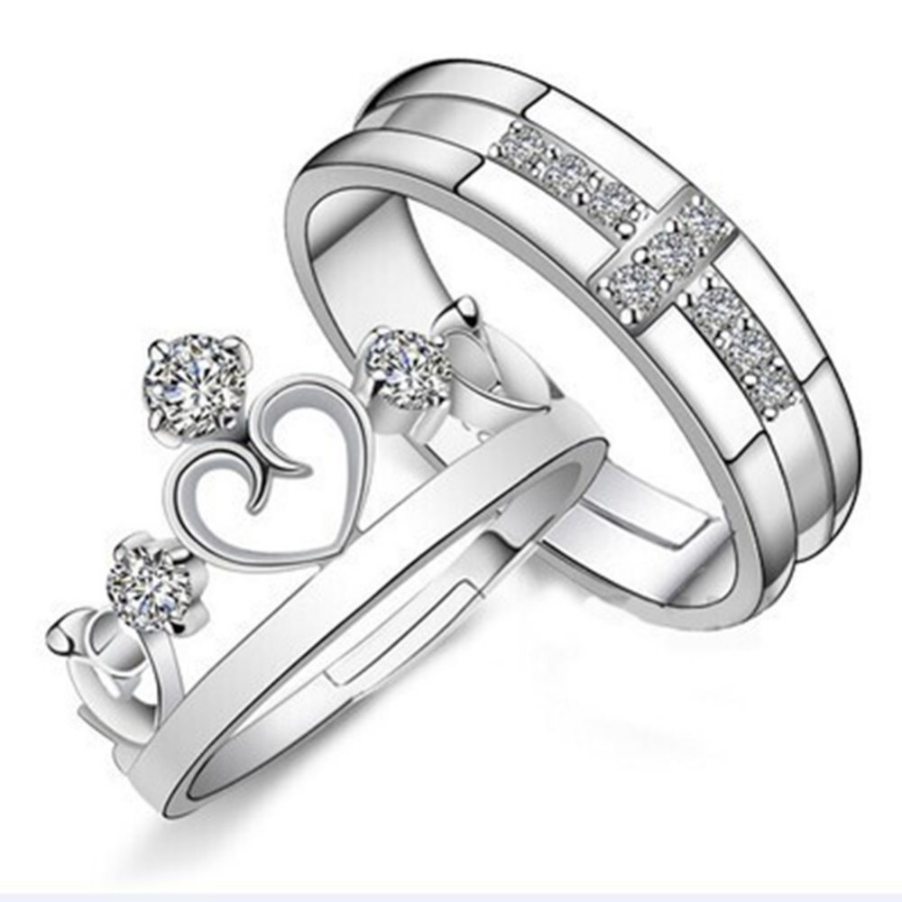 2pcs Fashion Silver Plated Prince Princess Crown Crystal Zircon Lover  Couple Promise Ring Set For Women