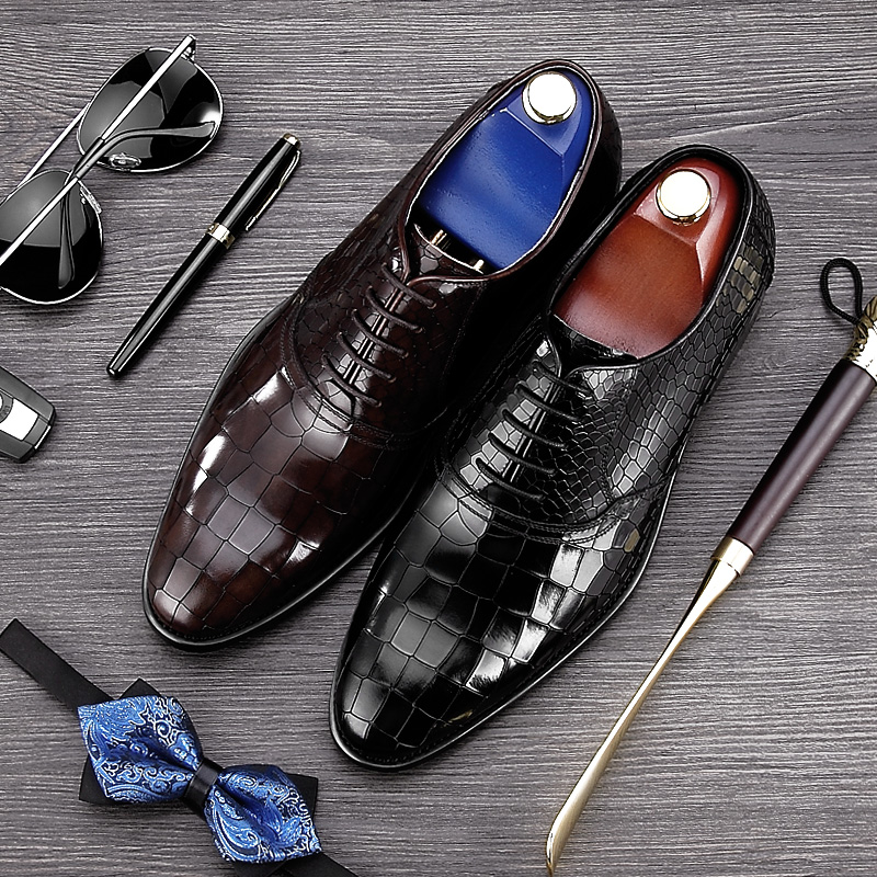 Italian Designer Pointed Toe Lace up Man Formal Dress Shoes Genuine Leather Party Prom Oxfords Men's Derby Wedding Footwear NE28 elanrom summer men formal derby wedding dress shoes cow genuine leather lace up round toe latex height increasing 30mm massage