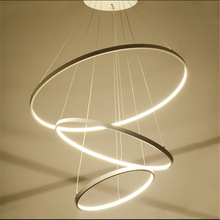 Modern LED pendant lamp Minimalism circular ring Acrylic chandelier lamp Multivariant style aviation aluminum alloy lights стоимость