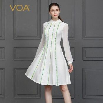 c3b60c9e605 VOA 100% шелковое платье-миди Для женщин Белый Сладкий Туника Платья  Элегантные женские офисные sukienki сетки vestidos sukienka jurk A10057