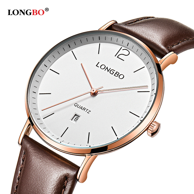 2018 Longbo Mens Watches Top Brand Luxury Stainless Steel Back Lover Wrist Watches For Women Man Dropshipping Leather Clock 5016