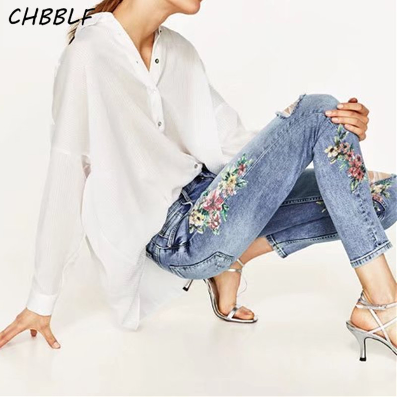 Spring Summer Flower Prints Ripped Jeans Ladies Fashion Stretch Jeans Pants Skinny Pencil Pants Xdc1633