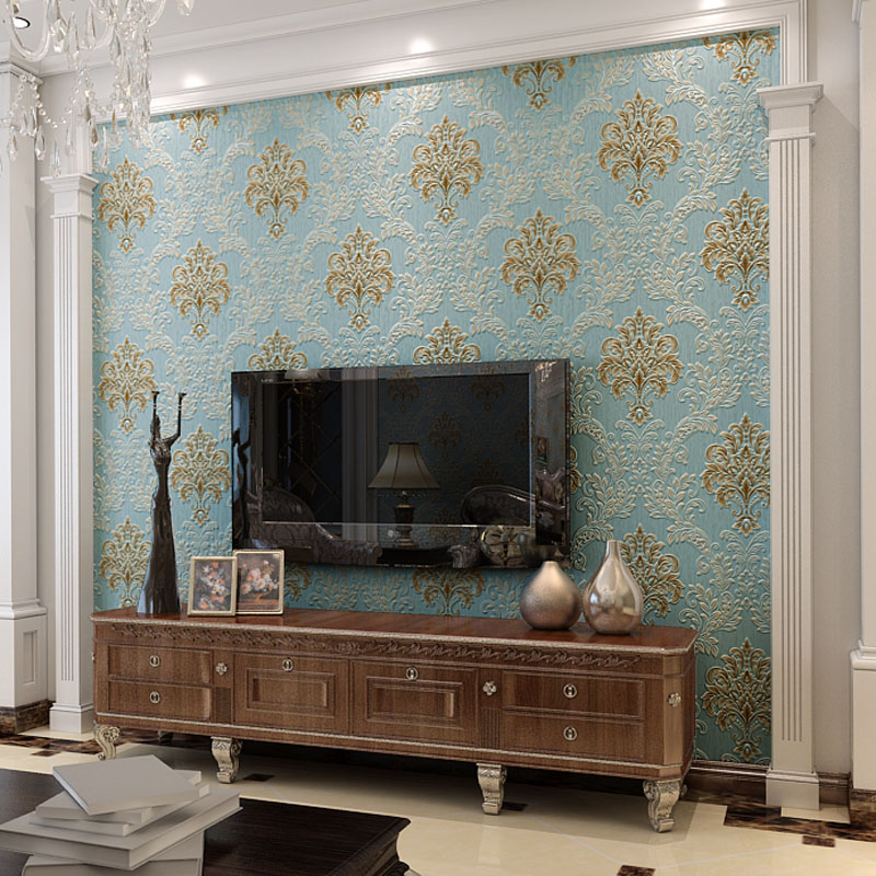 3D Damascus Luxury Background Wallpapers European 3D Embossed Non Woven Wall Paper Living Room,Bedroom Floral Wallpaper Roll beibehang wall paper pune wallpaper european damascus ab edition high environmental non woven wallpaper living room bedroom