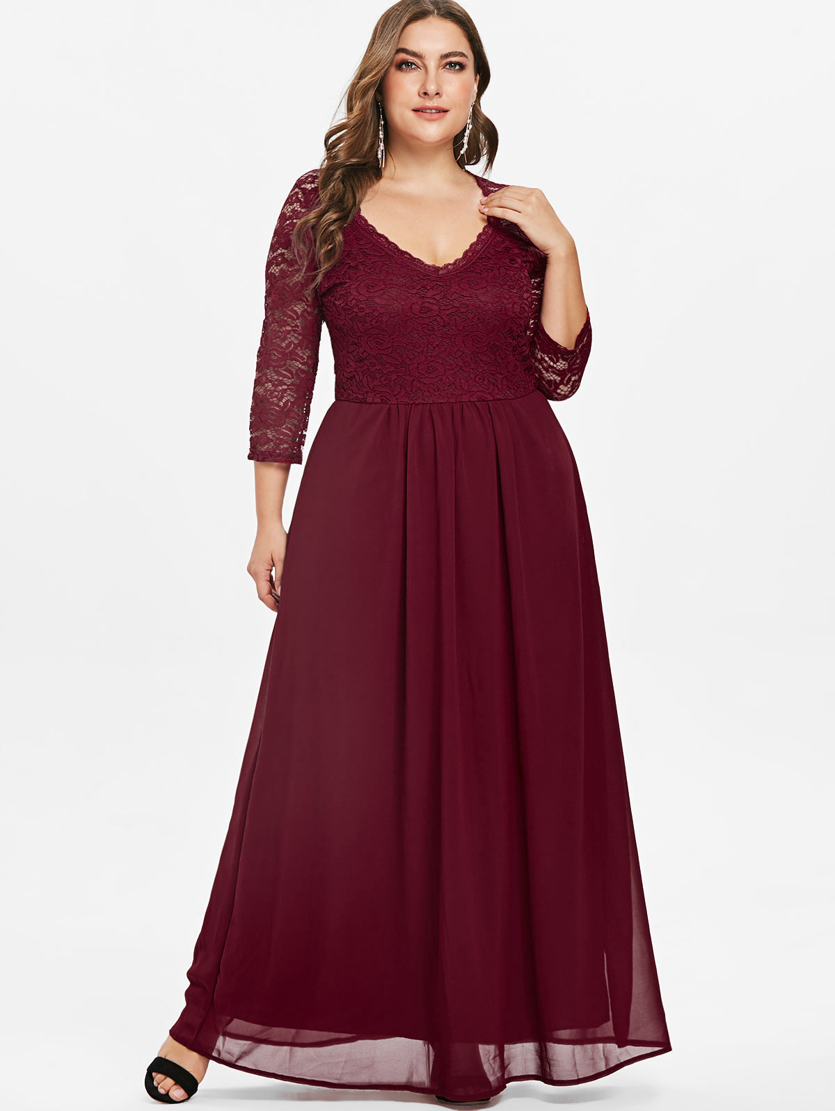 US $20.3 48% OFF|Wipalo Plus Size 5XL Plunging Neck Lace Panel Floor Length  Maxi Dress Elegant Three Quarter Sleeve Party Dress Ladies Vestidos-in ...