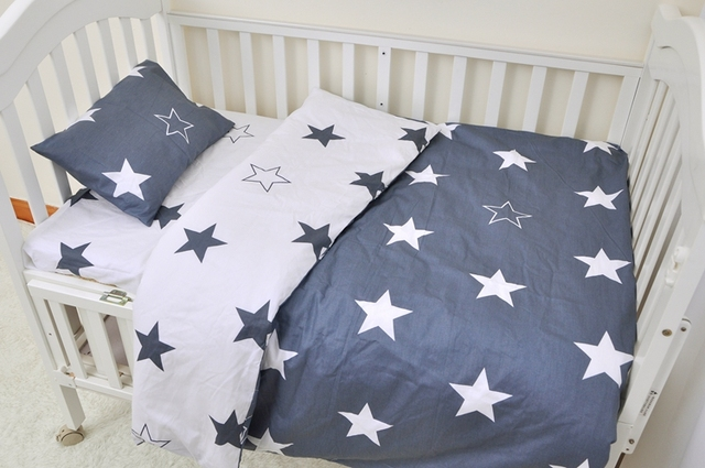 Star dog crib bedding 100% cottotton 3pcs baby Bedding set include pillow case+bed sheet+duvet cover without filling