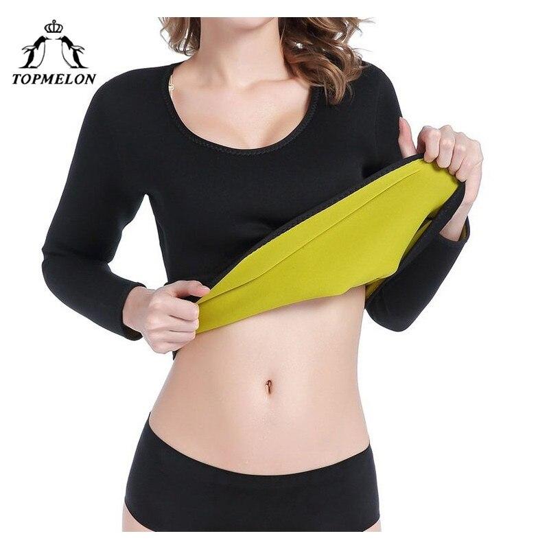 TOPMELON Waist Trainer Neoprene Shapewear Modeling Strap Corset Sauna Tops Belly Slimming Sheath Sweat Long Sleeve Body Shaper