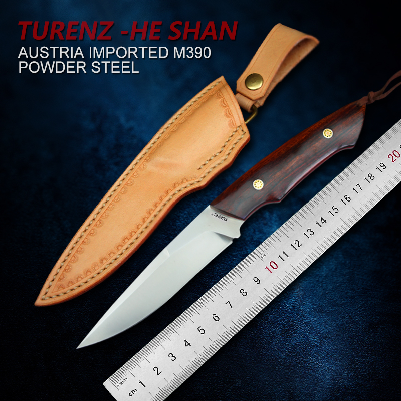 TUREN Full Tang M390 Steel Handmade Fixed Blade Knife Outdoor Camping Tool 61 62HRC Hunting Straight