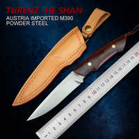 TUREN-Full Tang M390 Steel Handmade Fixed Blade Knife Outdoor Camping Tool 61-62HRC Hunting Straight Knife Carved Leather Sheath