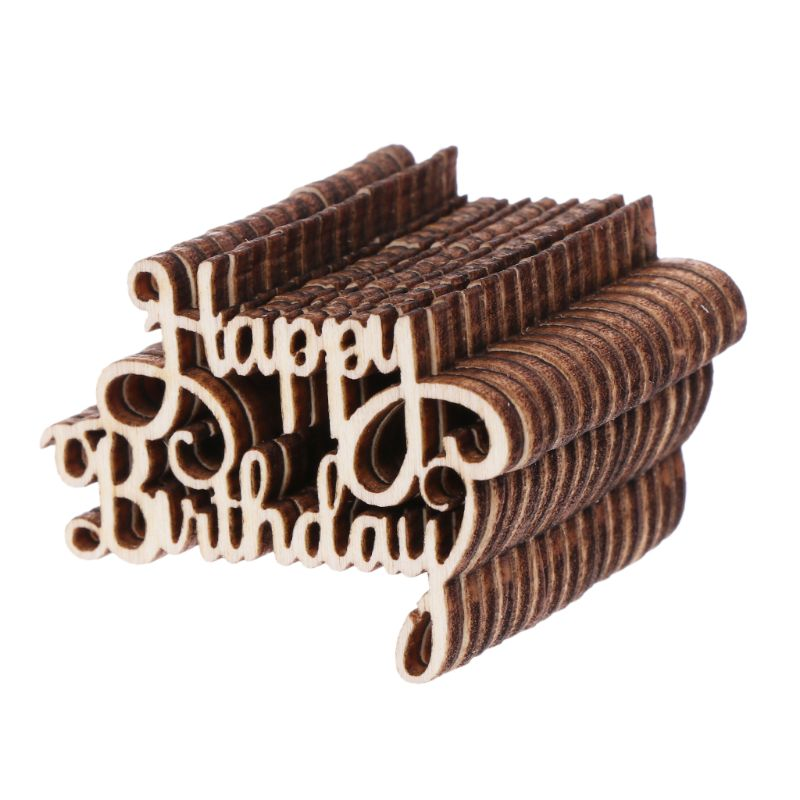 15Pcs Wooden Happy Bithday Table Confetti Scatter Vintage Rustic Party Decor Craft Scrapbook Decorations