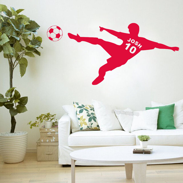 Personalized Wall Sticker Name Custom Wall Decals Vinyl Boy Shoot The  Soccer Wall Mural Art Decoration