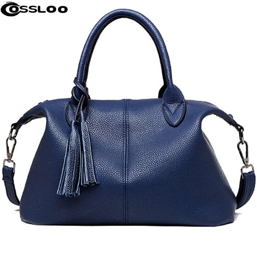 COSSLOO Women Shoulder Bag Nubuck Leather tassel Vintage women messenger bagsluxury handbags women bags designer Women Bag