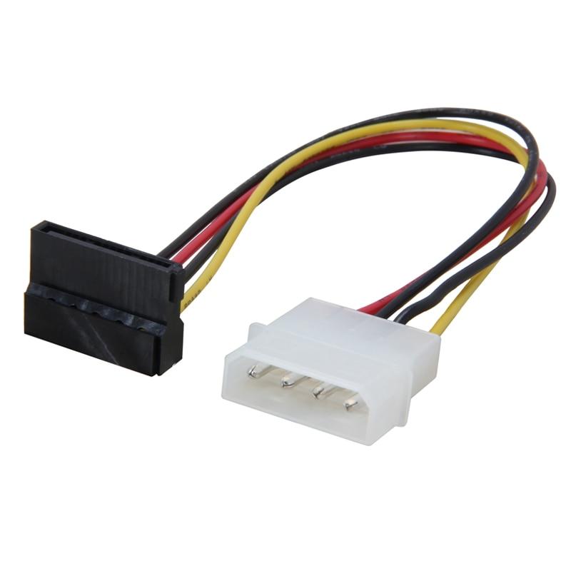 12inch 4pin Molex to Dual 90 Degree SATA Power Cable