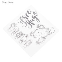 She Love Free Hugs Cactus Transparent Clear Stamp for DIY Scrapbooking Card Decorative Embossing Background Sheet(China)