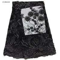 African Lace Fabric Black Latest African French Embroidered Mesh Lace Fabric For Women Dress Beaded 3D