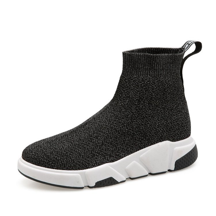 Black Silver Socks Boots Running Shoes for Women Outdoor Sports Shoes Breathable High Help Jogging Sneakers Zapatillas Mujer