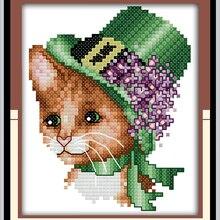 A noble cat(5) DMC cotton Animals cross stitch kits 14ct whi