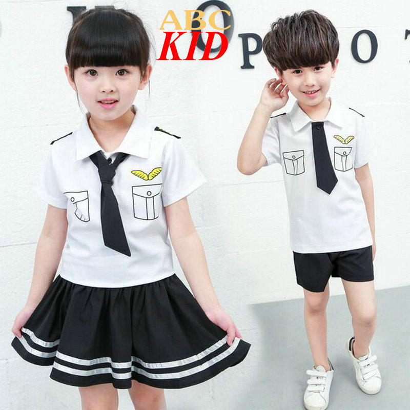 2016 Baby Pilot Clothes Boys Clothing Sets Shoulder Knot Pilot Tie Shirt + Shorts Toddler Clothes Set Kids Sport Suit Tracksuit
